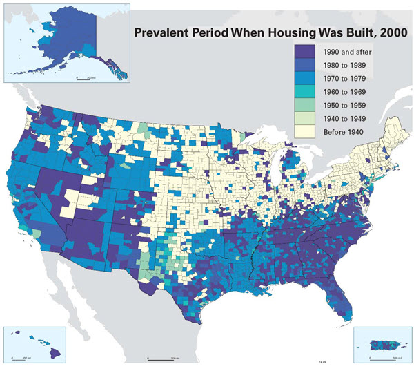 Prevalence of lead in US housing.